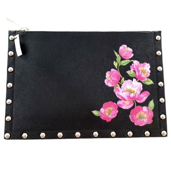 White House Black Market Floral Studded Pouch Bag